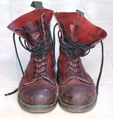 image of skinhead  - Some old battered boots - JPG