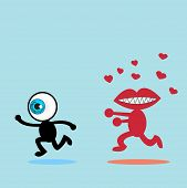stock photo of running-late  - The blue eye runs away from The red mouth - JPG