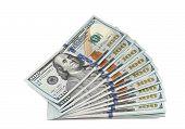 stock photo of 100 dollars dollar bill american paper money cash stack  - Stack of new 100 dollar bills - JPG