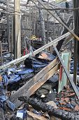 image of sweatshop  - Burned sweatshop garment factory after fire disaster - JPG