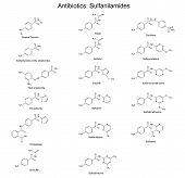 stock photo of antibiotics  - Structural chemical formulas of sulfonamide  - JPG