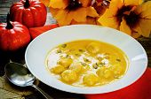 image of meatballs  - pumpkin soup with meatballs on a dark wood background - JPG