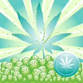 picture of marijuana leaf  - Abstract colorful illustration with cannabis leaf symbol - JPG