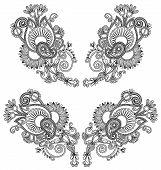 Neckline embroidery fashion. Ukrainian traditional pattern poster