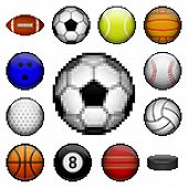 pic of pixel  - Vector set of pixel sport balls for different games - JPG