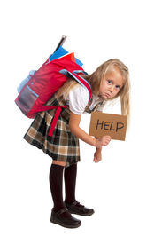 stock photo of heavy bag  - sweet little blonde schoolgirl asking for help carrying heavy backpack or school bag full causing stress and pain on back due to overweight isolated on white background - JPG
