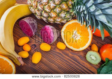 Fresh Fruit And Vegitables On Wooden Table