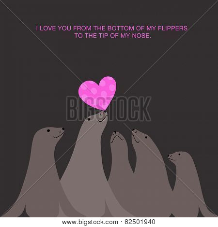 I love you valentine's day card design with  sea lions seals balancing heart on nose