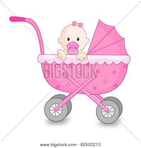 Baby Girl With Go Cart