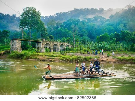 Crossing of the river Sukamade on Java, Indonesia.