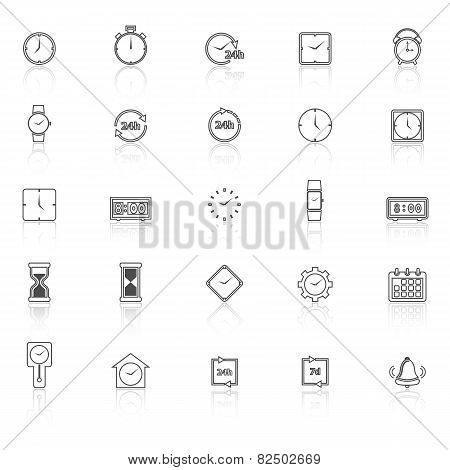 Time Line Icons With Reflect On White Background