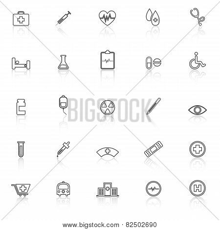 Medical Line Icons With Reflect On White Background
