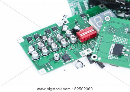 Heap Of Pcbs (isolated On White)