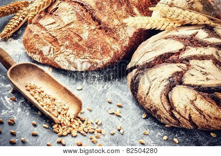 Freshly Baked Bread In Rustic Setting