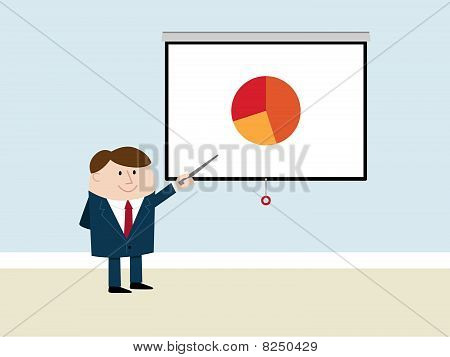 Happy Businessman Makes Presentation