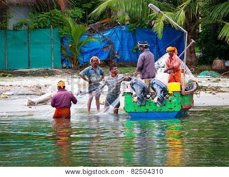 Indian fishmen  in Kerala backwaters