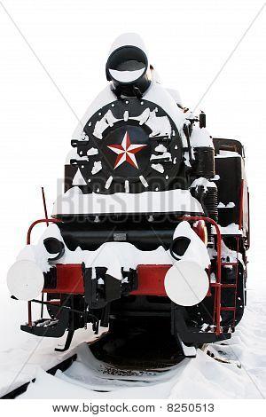 Old Steam Locomotive under snow