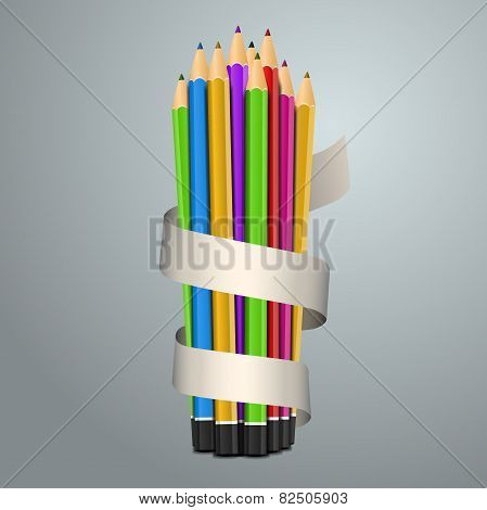 Colorful pencil crayons, back to school concept
