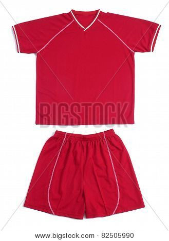 Close Up Red Sports Uniform On White Background