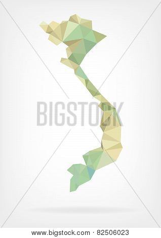 Low Poly map of Vietnam