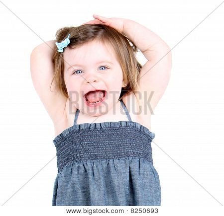 Cute toddler girl shouting