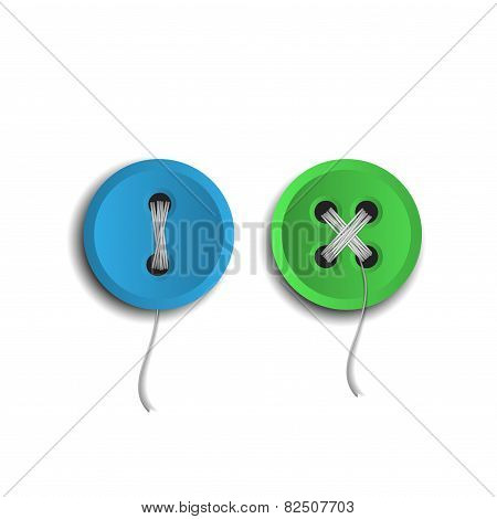 Set of two vector buttons with threads
