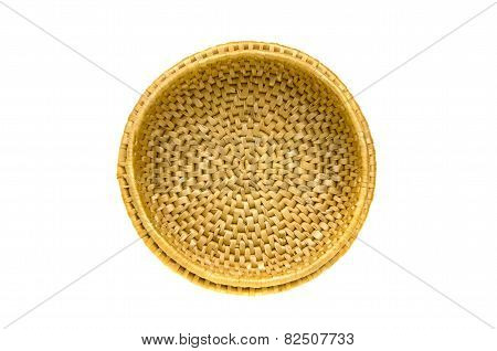 Circle Wicker Empty Basket Isolated