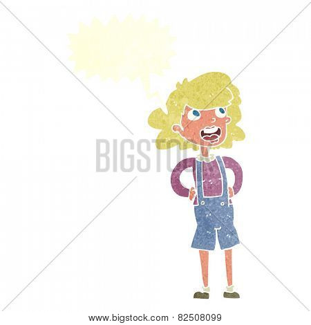 cartoon woman in dungarees with speech bubble