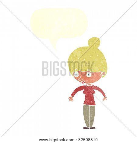 cartoon woman staring with speech bubble