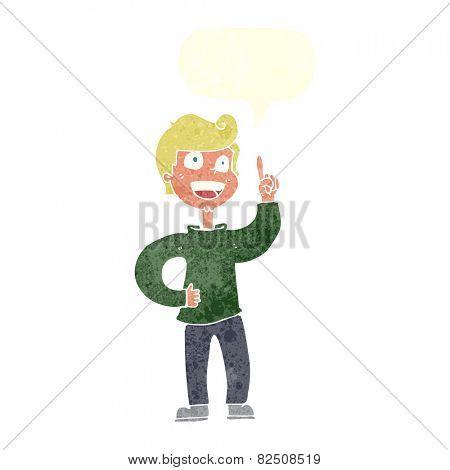 cartoon boy with great idea with speech bubble