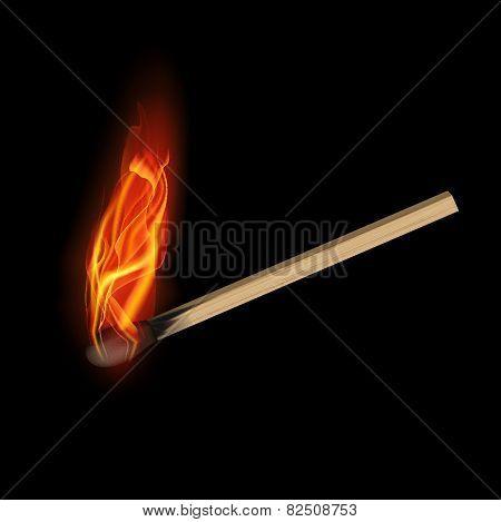 Burning match on a black background for design