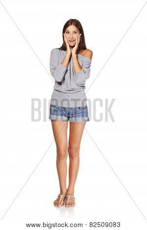 Surprised full length woman