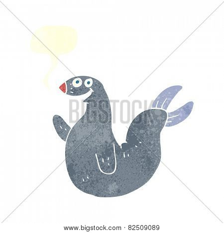 cartoon happy seal with speech bubble