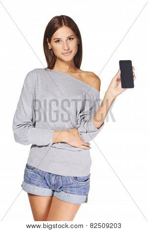 Young woman showing mobile cell phone