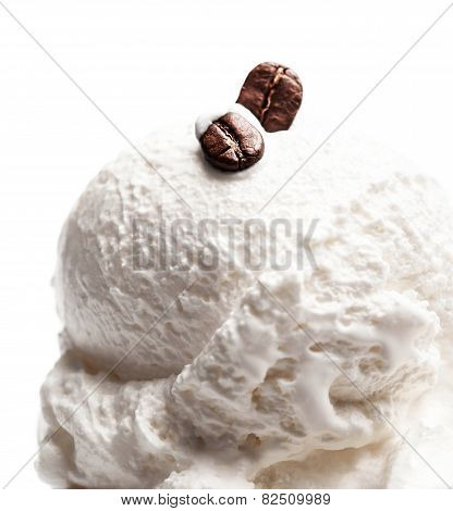 Coffee Vanilla Soft Ice Cream In Blue Bowl Isolated Over White Background. Ice-cream  With Coffee Be
