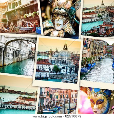 collage of polaroid photos from Venice
