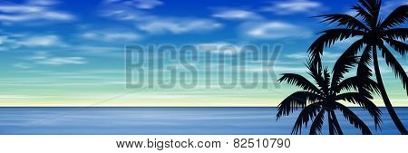 Palm Trees with Blue Sky and Sea, Ocean. Vector EPS 10.
