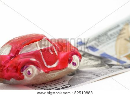 Red Car On 100 Dollars Bill