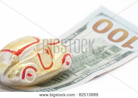 Yellow Car On 100 Dollars Bill