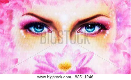Eyes  Up Enchanting From Behind A Bloming Rosa Lotus Flower Bloming Rosa Lotus Fractal efect
