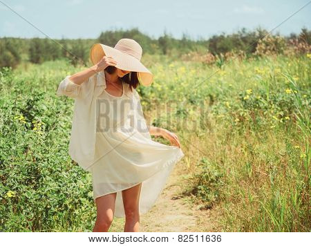 Happy Beautiful Woman Walking In Summer Park