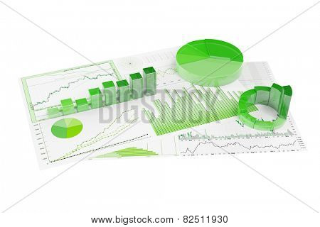 Sustainability with ecological financial planning with statistics and graphs (3D Rendering)