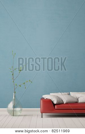 Couch in living room with wall and vase for decoration (3D Rendering)