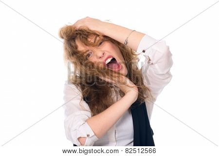 Close-up Portrait Of A Young Girl Screaming. Stress Business Woman.