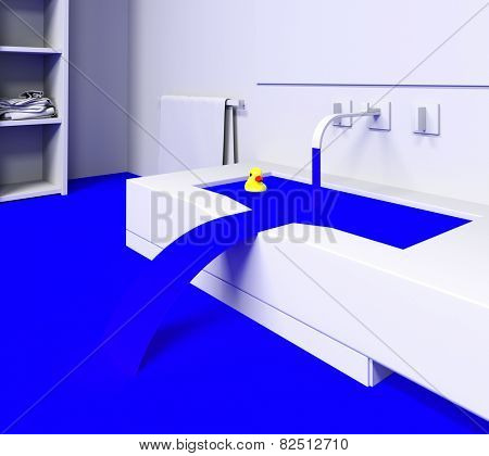 rubber duck in the flooded sink (3d concept)