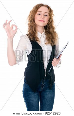 Business Woman Making A Ok Gesture.