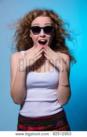 Pretty Young Surprised Girl In Sunglasses