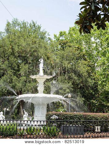 Park Fountain On Green