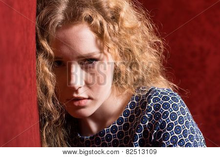 Closeup Portrait Of Sad, Depressed, Stressed, Thoughtful Young Woman