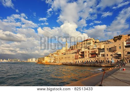 Old Jaffa seaport at sunset. Tel Aviv, Israel